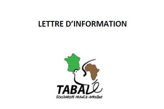 La dernière lettre d'informations de 2020 de  Tabalé est sortie !